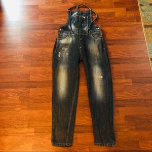 ZARA TRF Denim Distressed Overall| Bib Jeans| sz S
